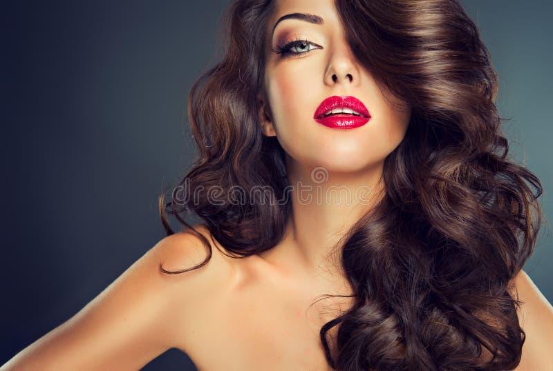 Belle brune modèle avec de longs cheveux courbés image libre de droits