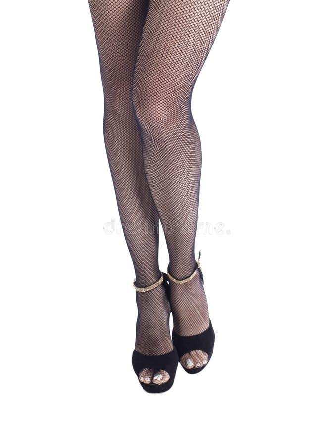 Belle calze delle gambe della donna con i talloni sopra bianco immagini stock