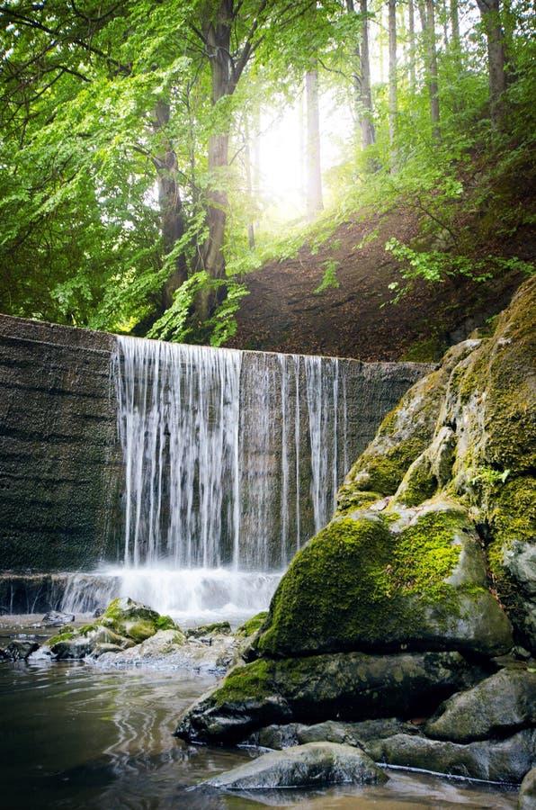 Belle campagne verte La cascade sur une rivière avec de grandes roches et le vert forêt à feuilles caduques aménagent en parc photo stock