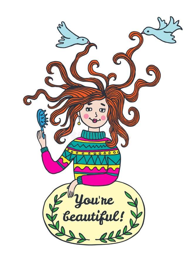 Belle carte élégante avec la fille illustration libre de droits