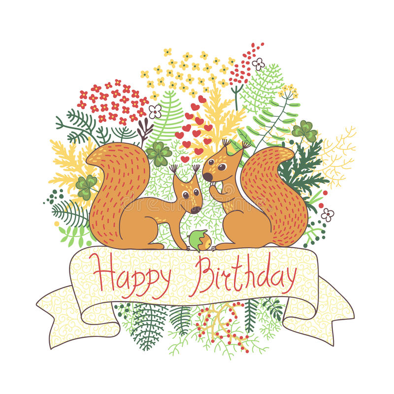 Belle carte avec des écureuils. Joyeux anniversaire. illustration libre de droits