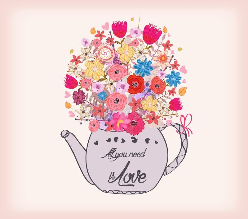 Belle carte avec des fleurs d'aquarelle Tasse de thé avec amour illustration libre de droits