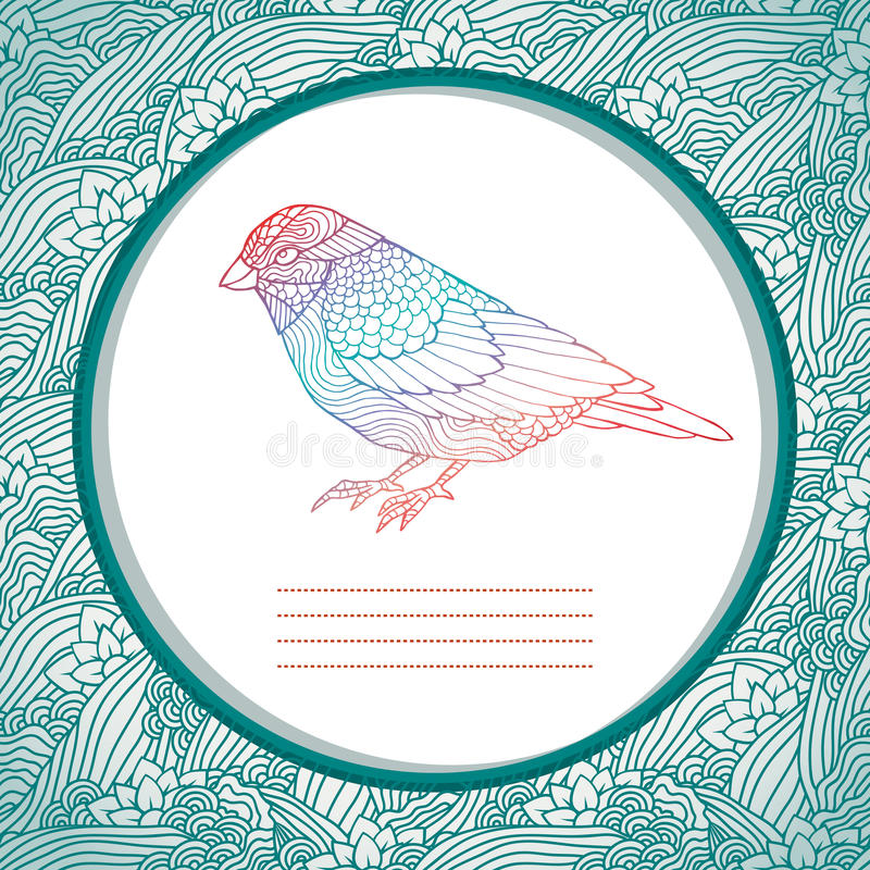 Belle carte avec l'oiseau tiré par la main illustration de vecteur