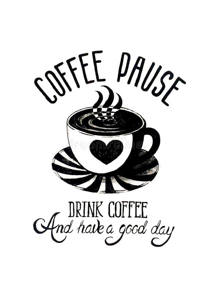 Belle carte avec la tasse et le lettrage de café illustration stock