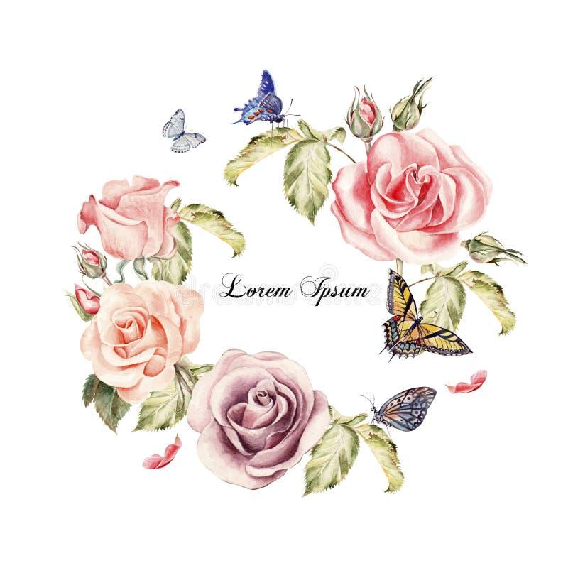 Belle Carte D'aquarelle Avec Des Fleurs De Roses Papillons Et Usines Illustration Stock ...
