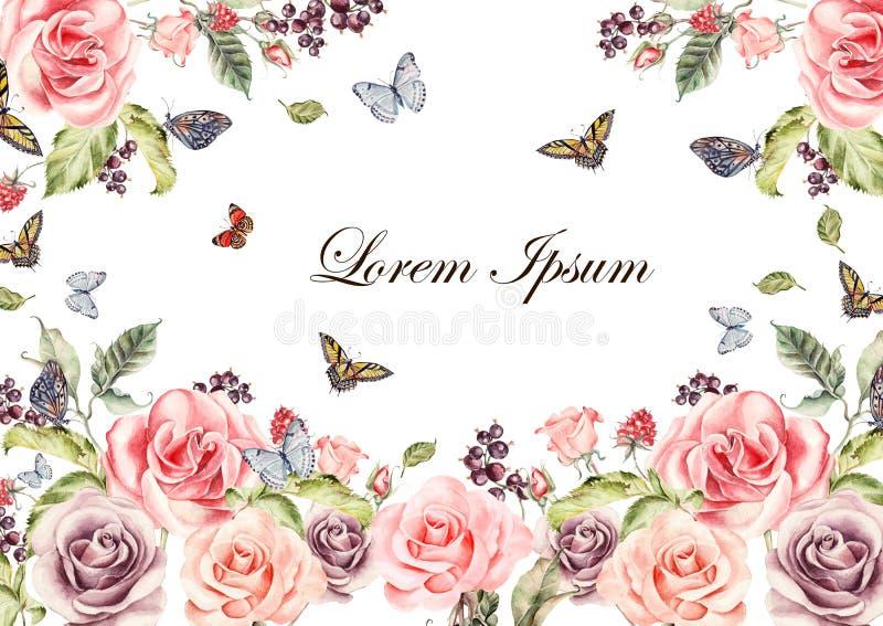 Belle carte d'aquarelle avec les fleurs de pivoine et le flover d'orchidée, les lis et les tulipes Butterflis, baies et plantes illustration stock