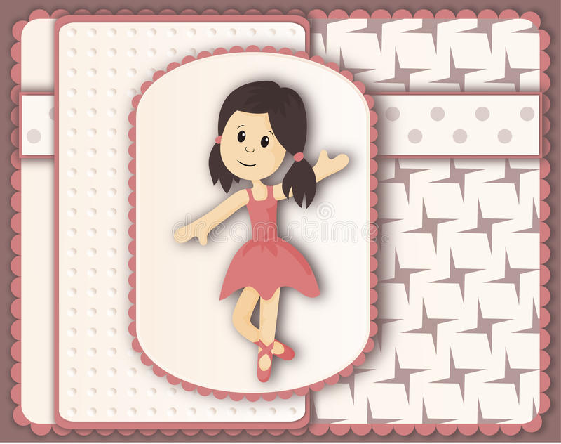 Belle carte dans le style scrapbooking avec la fille gracieuse de ballerine illustration de vecteur