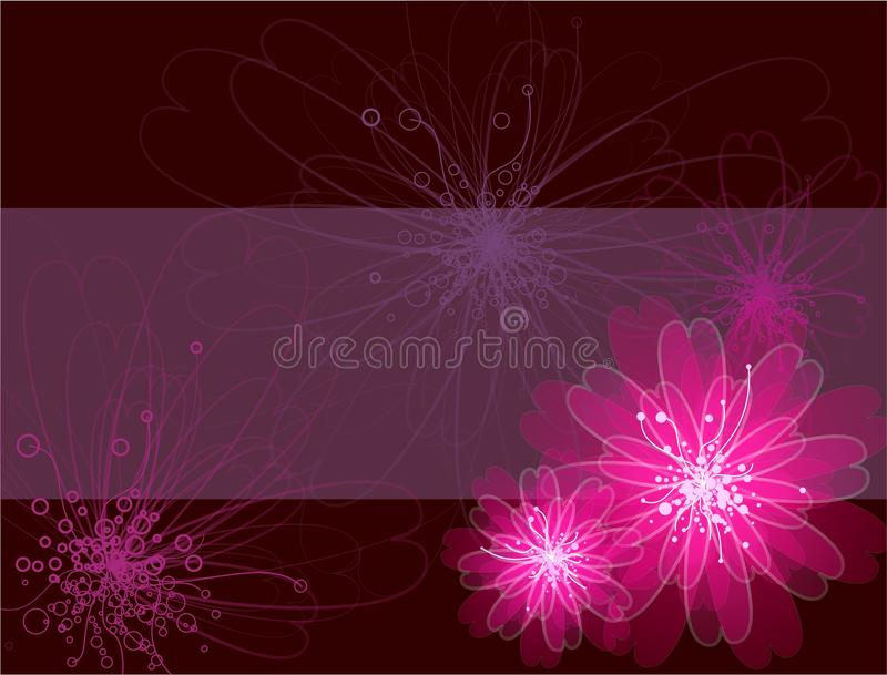 Belle carte de cadeau avec des fleurs illustration libre de droits