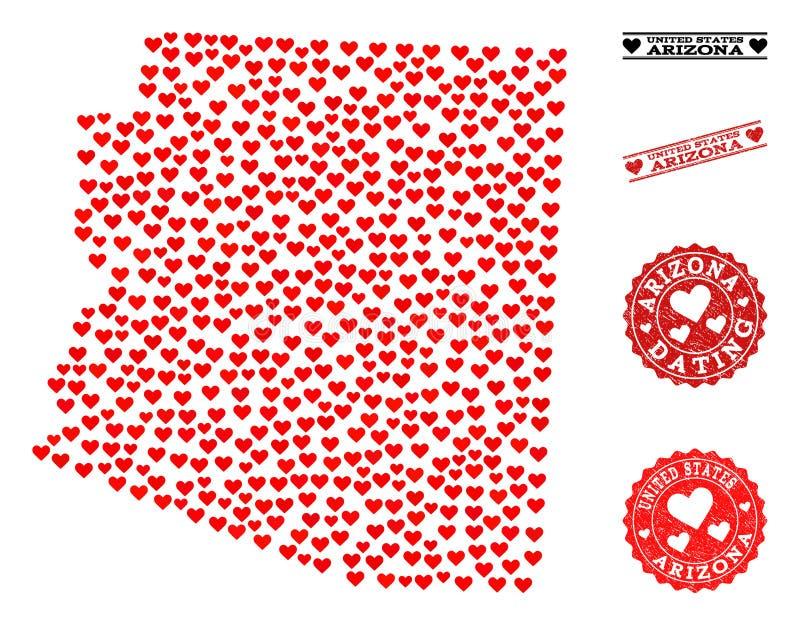 Belle carte de mosaïque d'état de l'Arizona et de timbres grunges pour des valentines illustration stock