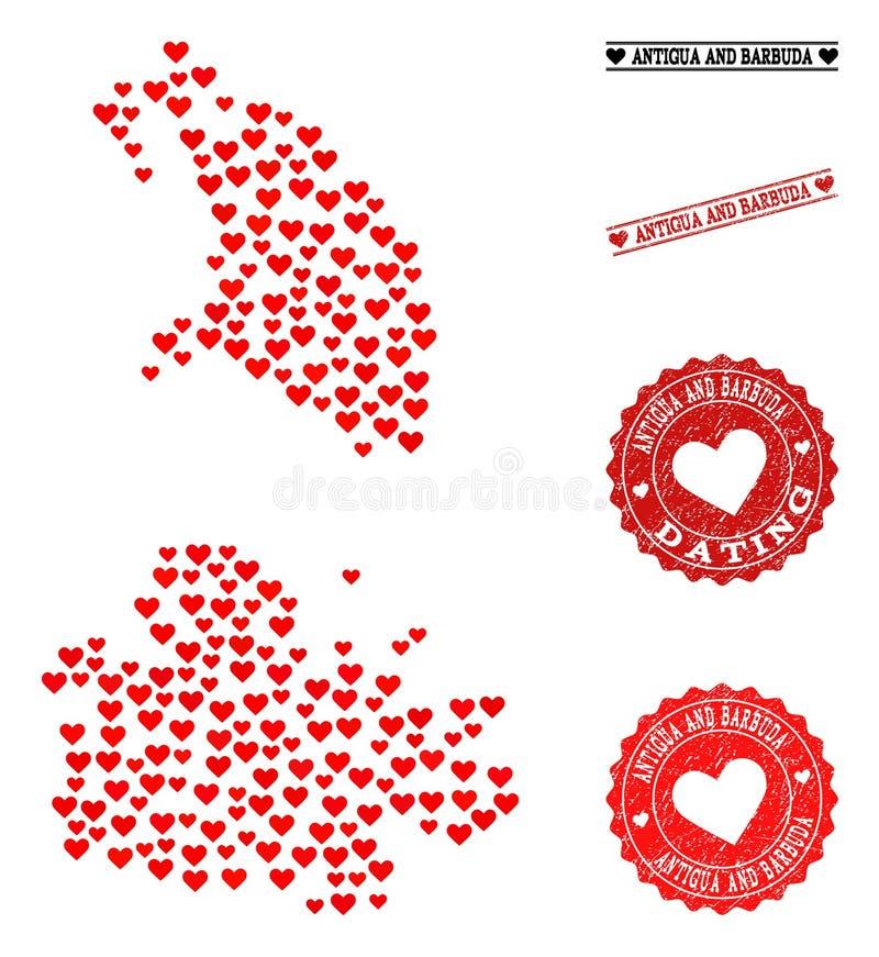 Belle carte de mosaïque de l'Antigua-et-Barbuda et des timbres grunges pour des valentines illustration de vecteur