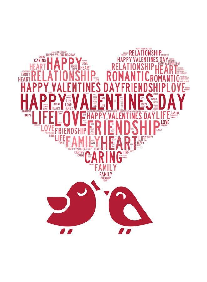 Belle carte de valentines d'amour heureux de jour avec les oiseaux mignons de couples d'amour sur le fond blanc illustration libre de droits