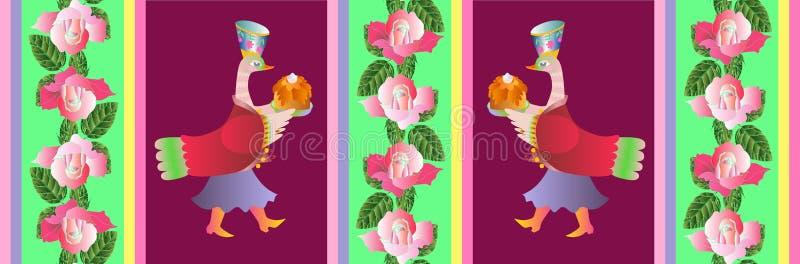 Belle carte de vecteur avec deux canards et roses roses illustration libre de droits