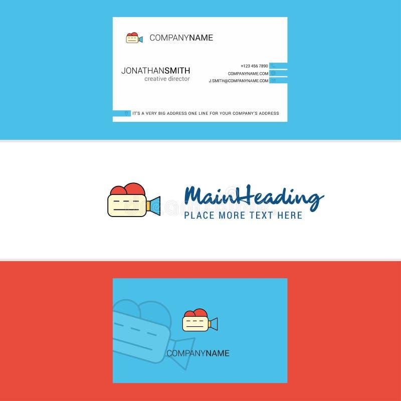 Belle carte de visite professionnelle de logo et de visite de Camcoder vecteur vertical de conception illustration libre de droits