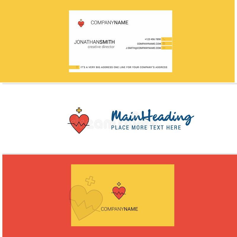 Belle carte de visite professionnelle de logo et de visite de fréquence cardiaque vecteur vertical de conception illustration stock