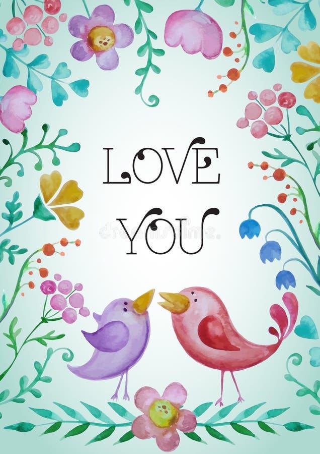Belle carte de voeux avec des fleurs et des oiseaux illustration stock