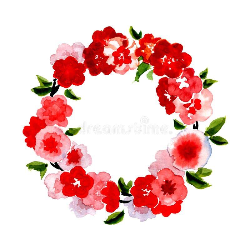 Belle carte de voeux avec la guirlande florale illustration stock