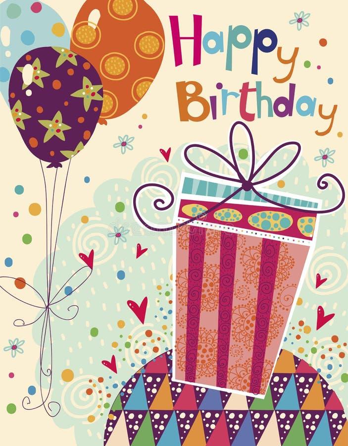 Belle carte de voeux de joyeux anniversaire avec le cadeau et les ballons dans des couleurs lumineuses Vecteur doux de bande dess illustration libre de droits