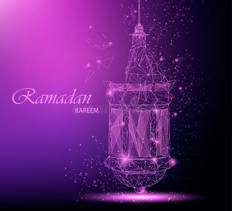 Belle carte de voeux de Ramadan Kareem avec la lanterne arabe traditionnelle Art polygonal illustration de vecteur