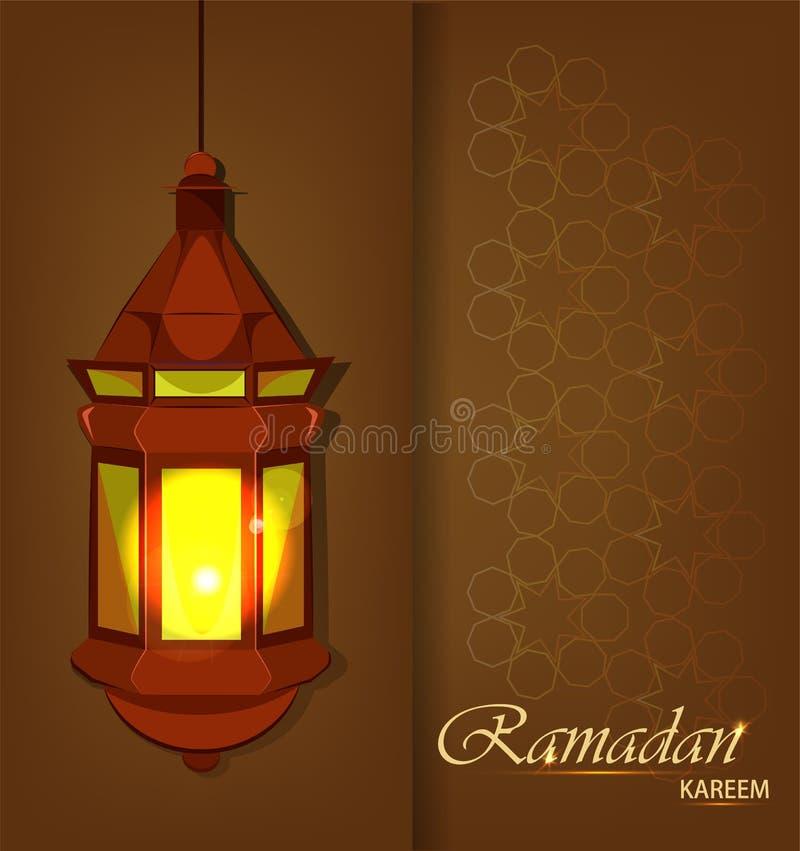 Belle carte de voeux de Ramadan Kareem avec la lanterne arabe traditionnelle sur le fond brun illustration de vecteur