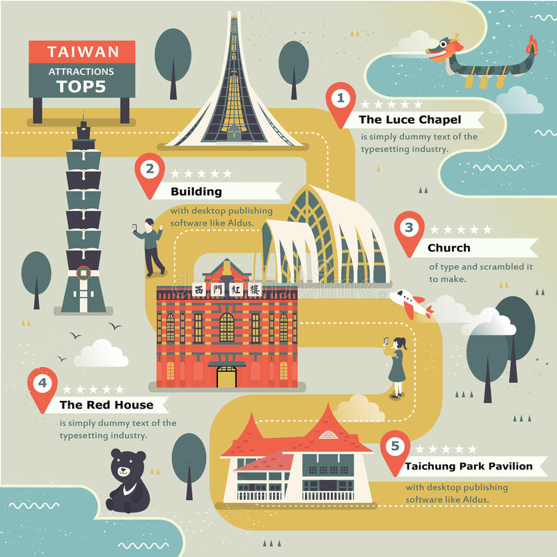 Belle carte de voyage de Taïwan illustration de vecteur