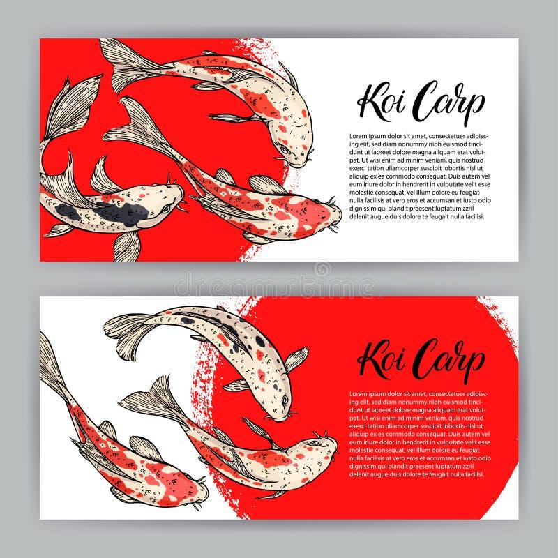 Belle carte deux des carpes de koi et de la course circulaire rouge illustration de vecteur