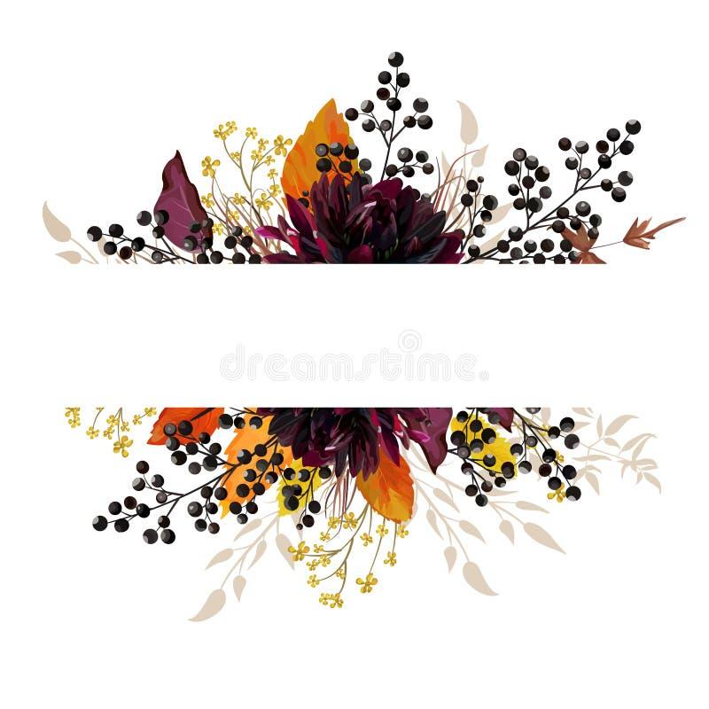 Belle carte florale de conception avec la fleur de dahlia de Bourgogne, jaune illustration libre de droits