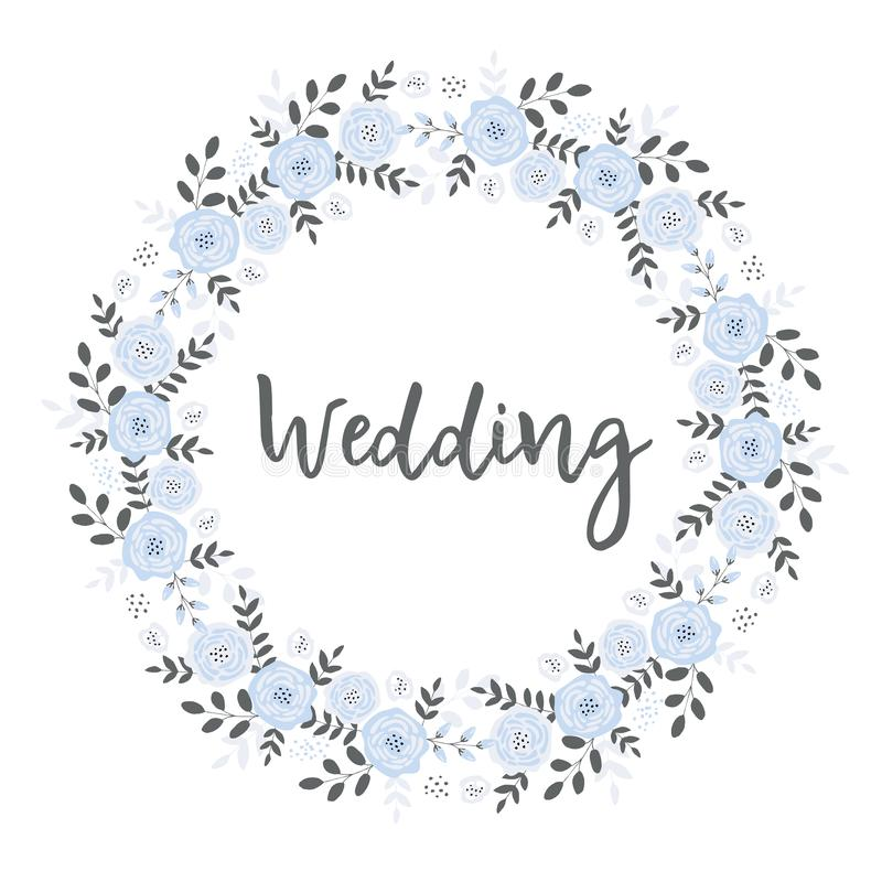 Belle carte l'épousant avec la guirlande florale bleue de la forme de cercle Cadre fait de brindilles et fleurs illustration de vecteur