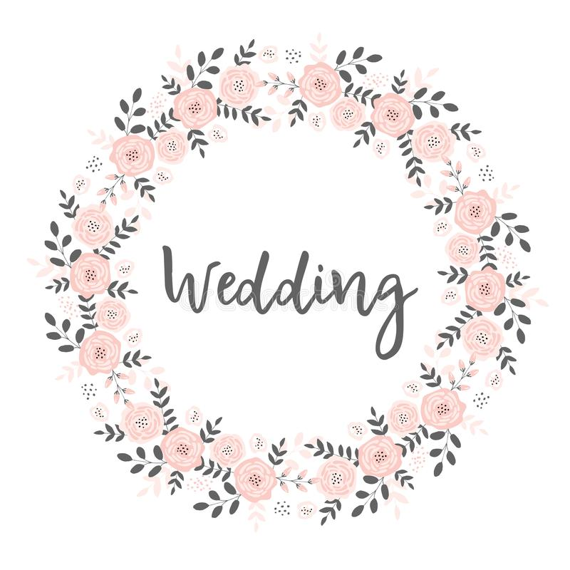 Belle carte l'épousant avec la guirlande florale rose de la forme de cercle Cadre fait de brindilles et fleurs illustration libre de droits