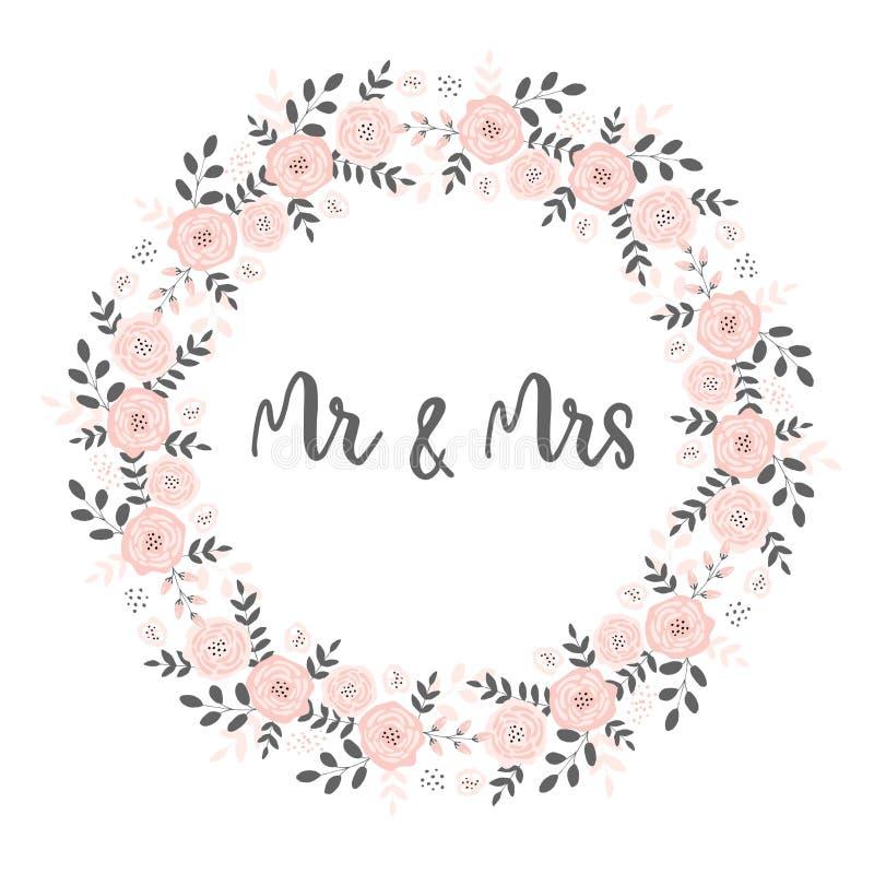 Belle carte l'épousant avec la guirlande florale rose de la forme de cercle M. et Mme Decorative Text Inside illustration stock