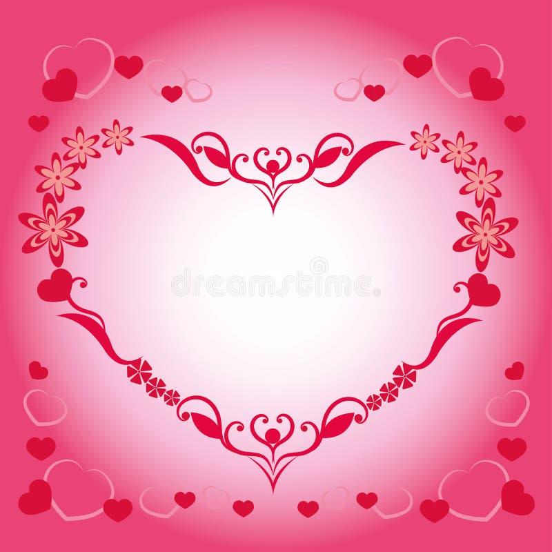Belle carte postale, au jour de la valentine sainte, du beau modèle rouge et rose illustration libre de droits