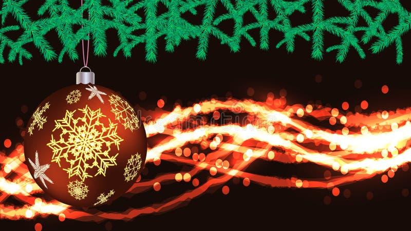 Belle carte postale de fête de Noël avec une boule jaune du rond de nouvelle année, une décoration d'arbre de Noël avec un modèle illustration libre de droits