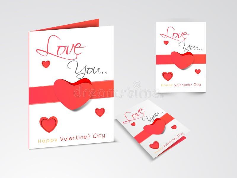 Belle cartoline d'auguri per la celebrazione felice di San Valentino illustrazione di stock
