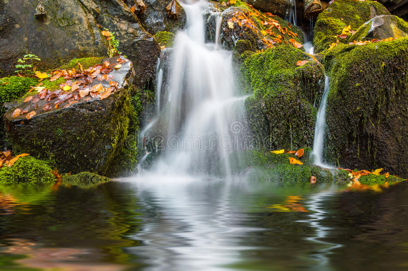belle cascade à écriture ligne par ligne d'automne images stock
