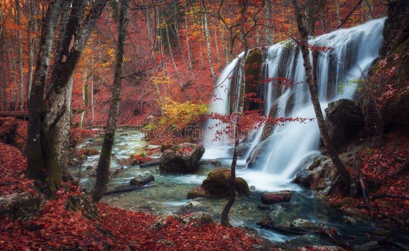 Belle cascade dans la forêt d'automne en montagnes criméennes au soleil photo stock