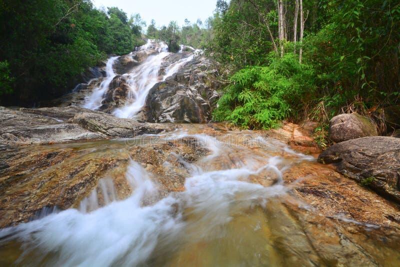 Belle cascade dans la forêt tropicale photo libre de droits