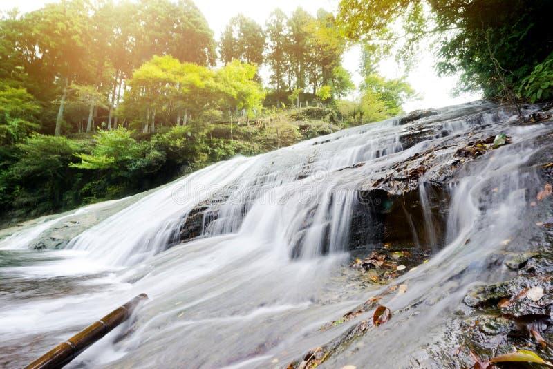 Belle cascade de vallée de keikoku de yoro sous le soleil de matin en préfecture de Chiba, Japon photos libres de droits