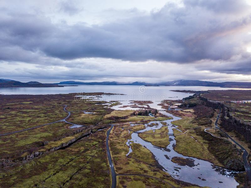 Belle cascade Oxarafoss en Islande du sud photos stock