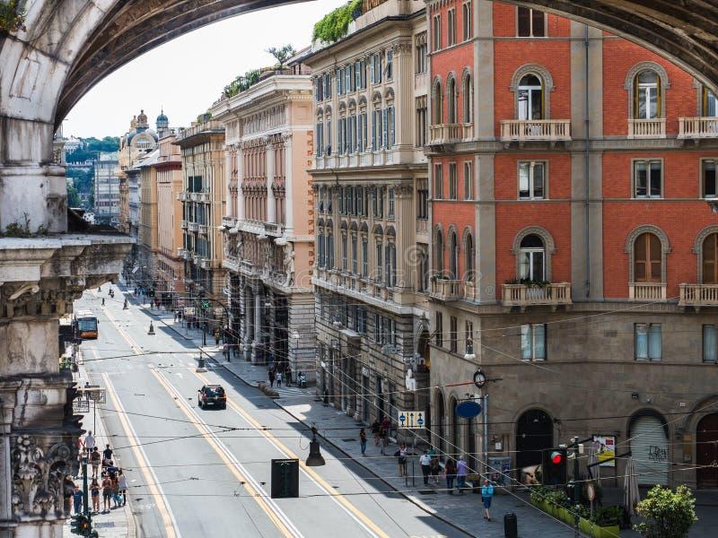 Belle case della città favolosa di Genova immagine stock