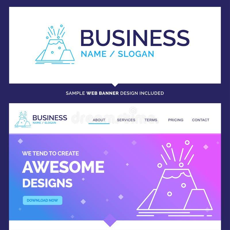 Belle catastrophe de marque de concept d'affaires, éruption, volcan illustration stock