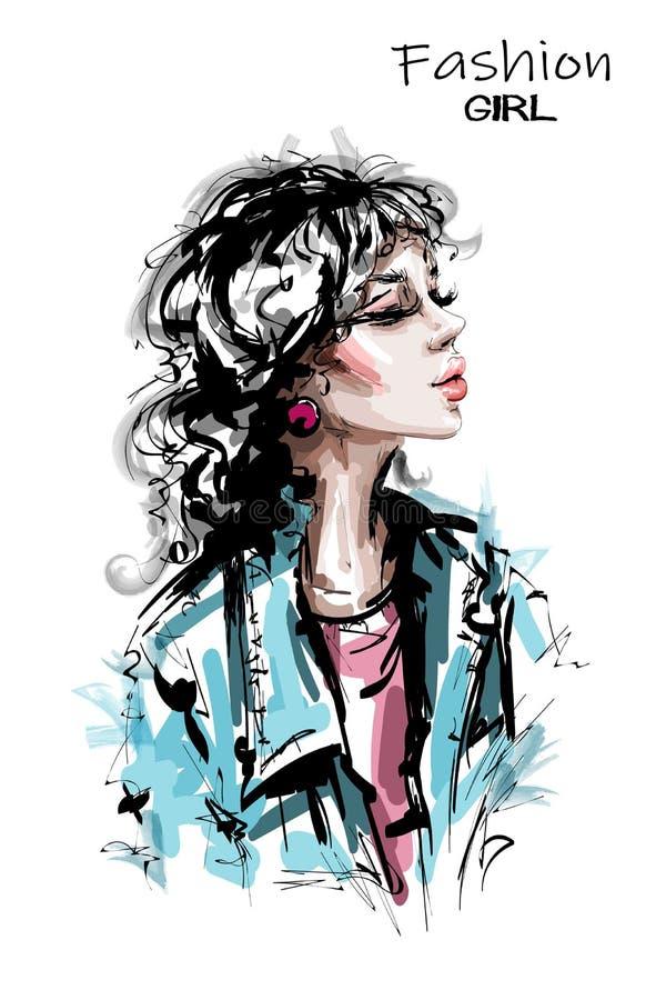 Belle coiffure tirée par la main de jeune femme avec le coup Fille élégante élégante dans la veste de jeans Verticale de femme de illustration libre de droits
