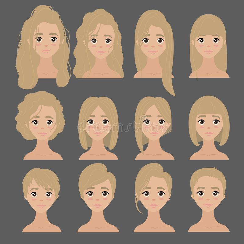 Belle collection de coupe de cheveux femelle de coiffure illustration libre de droits