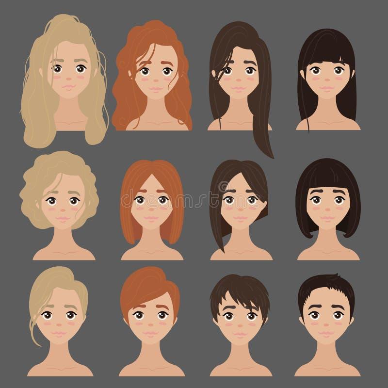 Belle collection de coupe de cheveux femelle de coiffure illustration de vecteur