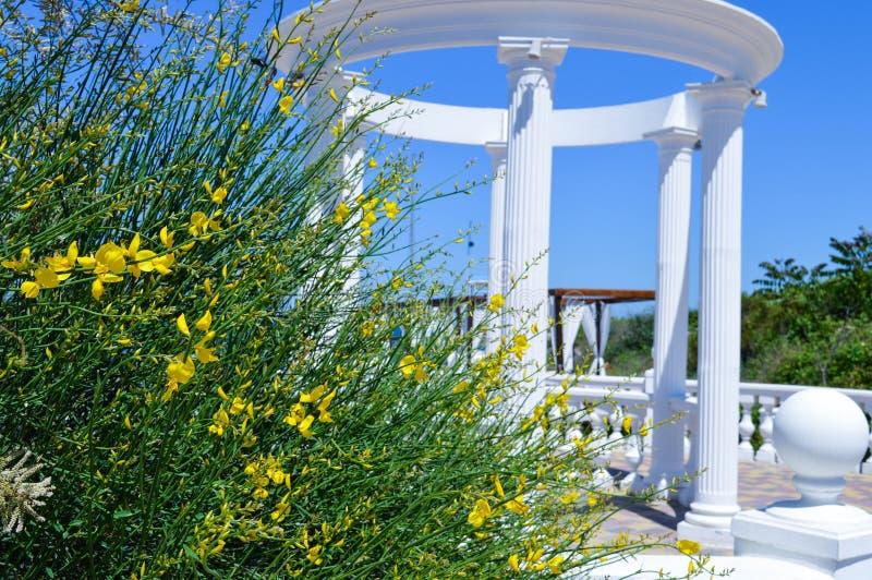Belle colonnade de couleur blanche et d'une basse barrière photographie stock libre de droits