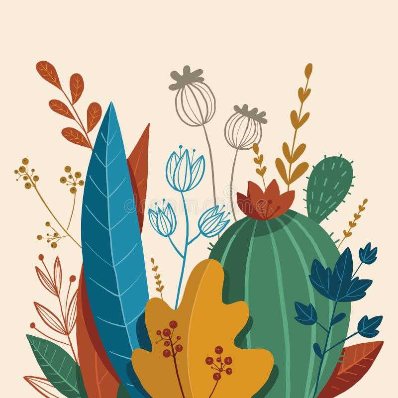Belle composition des plantes, des feuilles et des fleurs photo stock