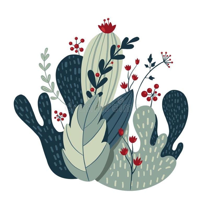 Belle composition des plantes, des feuilles et des fleurs photos stock
