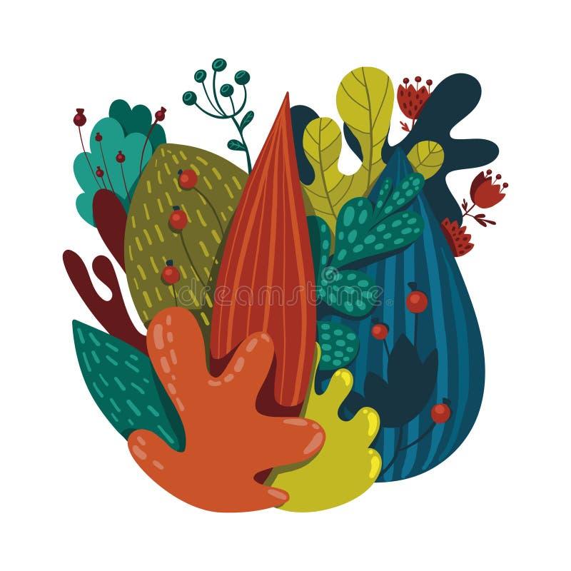 Belle composition des plantes, des feuilles et des fleurs image libre de droits