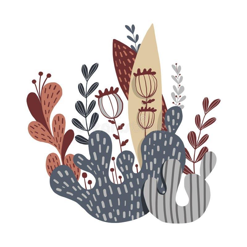 Belle composition des plantes, des feuilles et des fleurs images stock