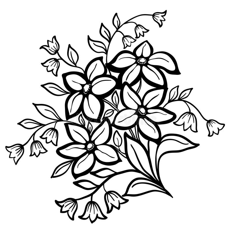 Composition florale, un contour noir sur un fond blanc illustration de vecteur