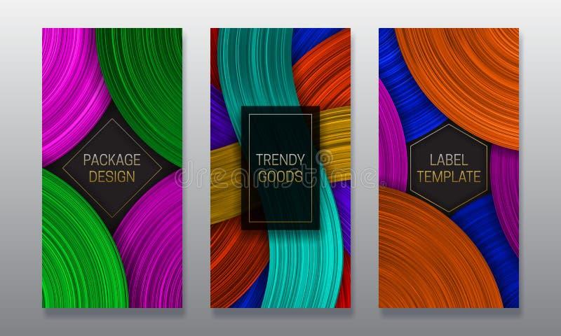 Belle conception d'empaquetage volumétrique Placez des calibres colorés de labels pour les marchandises à la mode illustration de vecteur