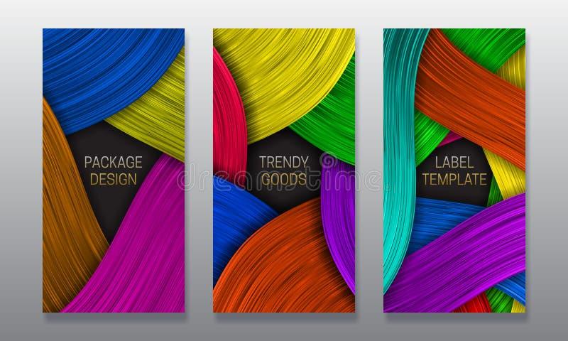 Belle conception d'empaquetage volumétrique Placez des calibres colorés de labels pour les marchandises à la mode illustration stock